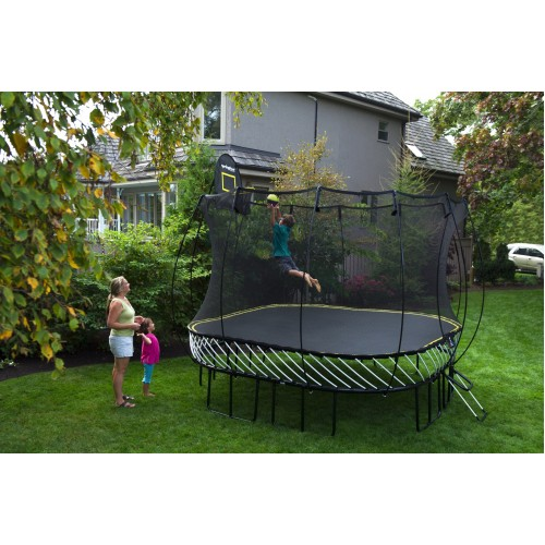 Softbounce And Hardbounce Mini Trampolines: 11ft Large Square Trampoline & Safety Net